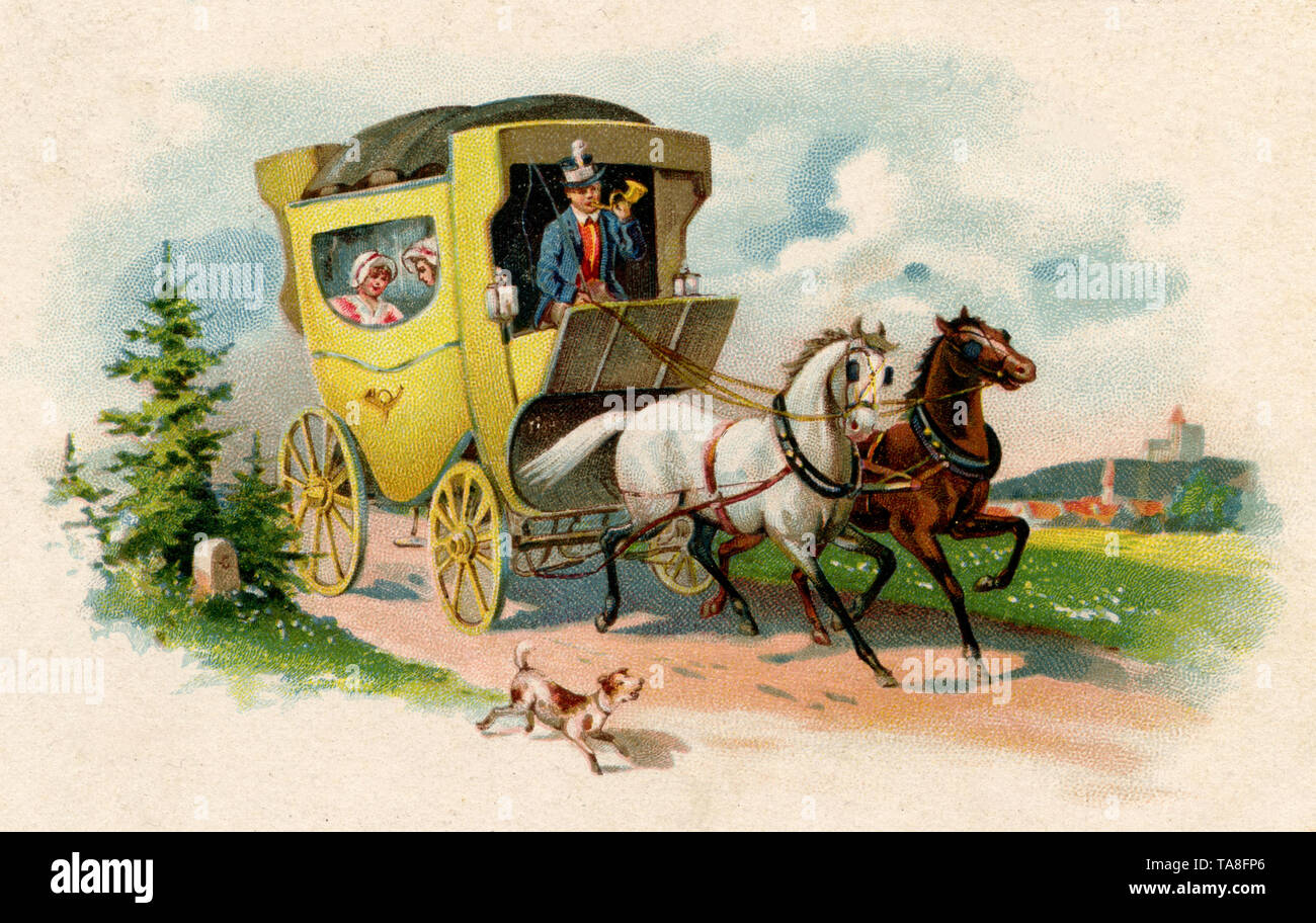 stagecoach with white and brown horse, from a postcard, used 6.4.1923 ,  (postcard, ) - Stock Image
