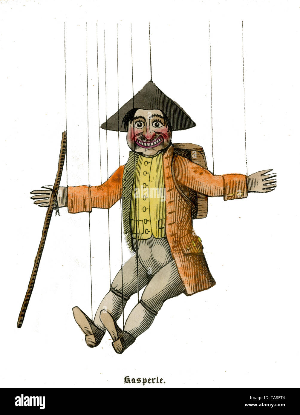 Kaspele figure from The Puppet Show by Doctor Faust, 1850 ,  (, ) - Stock Image