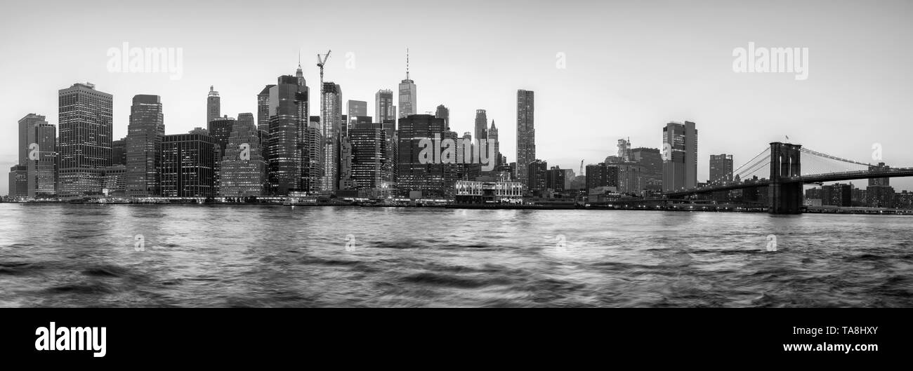 Black and white panoramic view of New York City silhouette at sunset, USA. Stock Photo