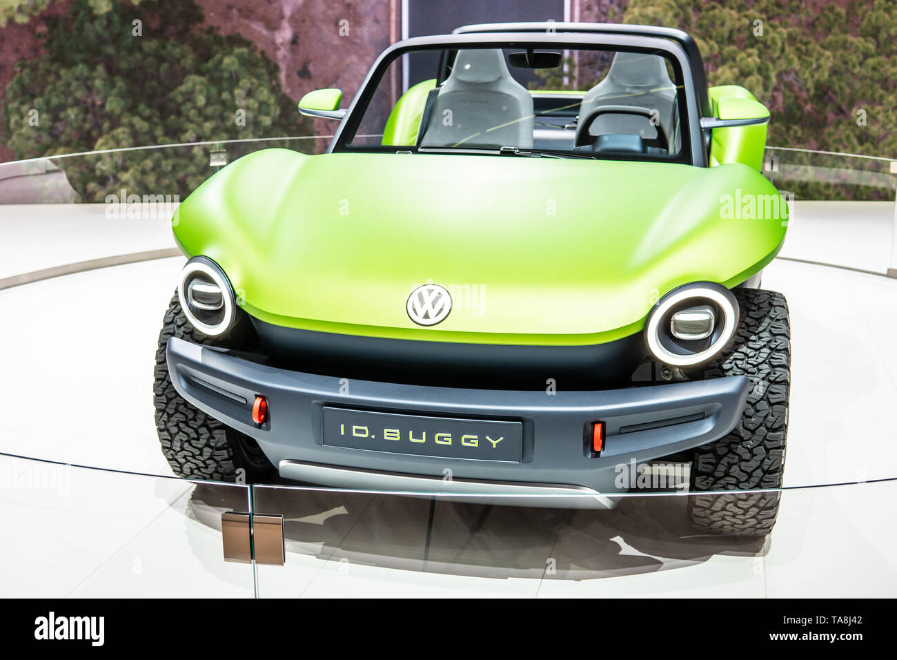 Geneva, Switzerland, March 07, 2019: Volkswagen VW ID Buggy Concept Prototype Car at Geneva International Motor Show, electric I.D. Buggy off-road car - Stock Image
