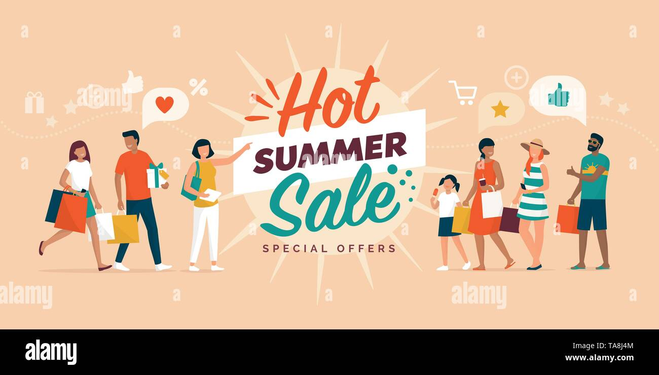 Hot summer sale promotional banner with happy people shopping together and carrying shopping bags - Stock Vector