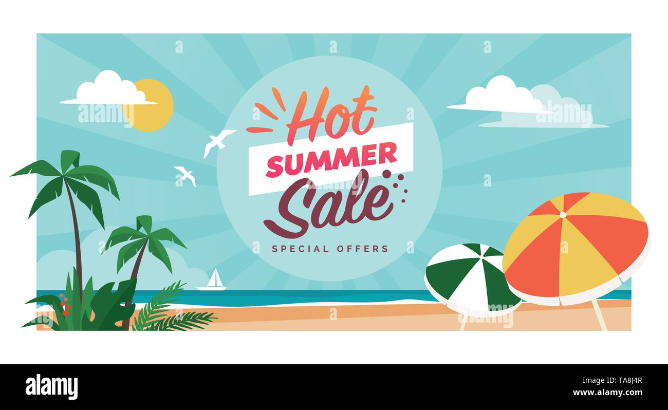 Promotional hot summer sale banner with tropical beach and palms, seasonal shopping concept - Stock Vector