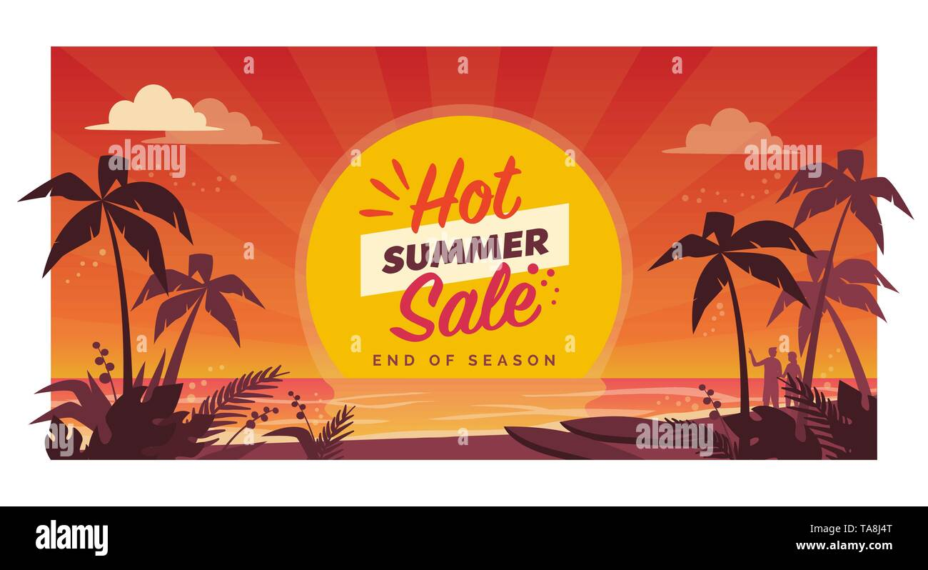 Promotional hot summer sale banner with tropical beach at sunset, seasonal shopping concept - Stock Vector