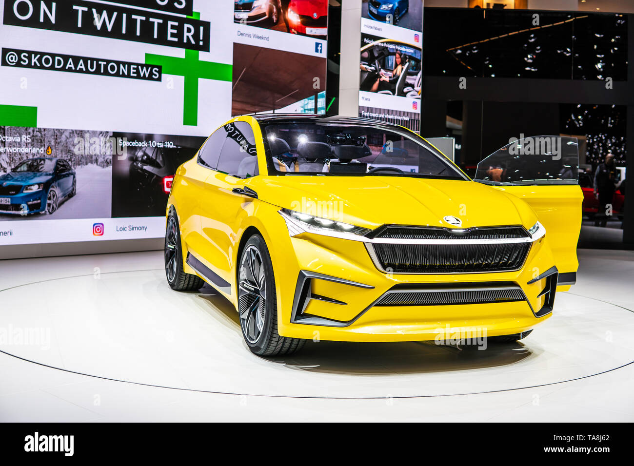Geneva, Switzerland, March 07, 2019: Skoda VISION iV prototype at Geneva International Motor Show purely electrically driven concept car from Skoda - Stock Image
