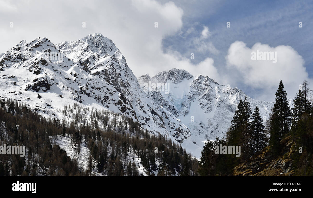 Picture of the Disgrazia mountain group in Rhaetian Alps - Stock Image