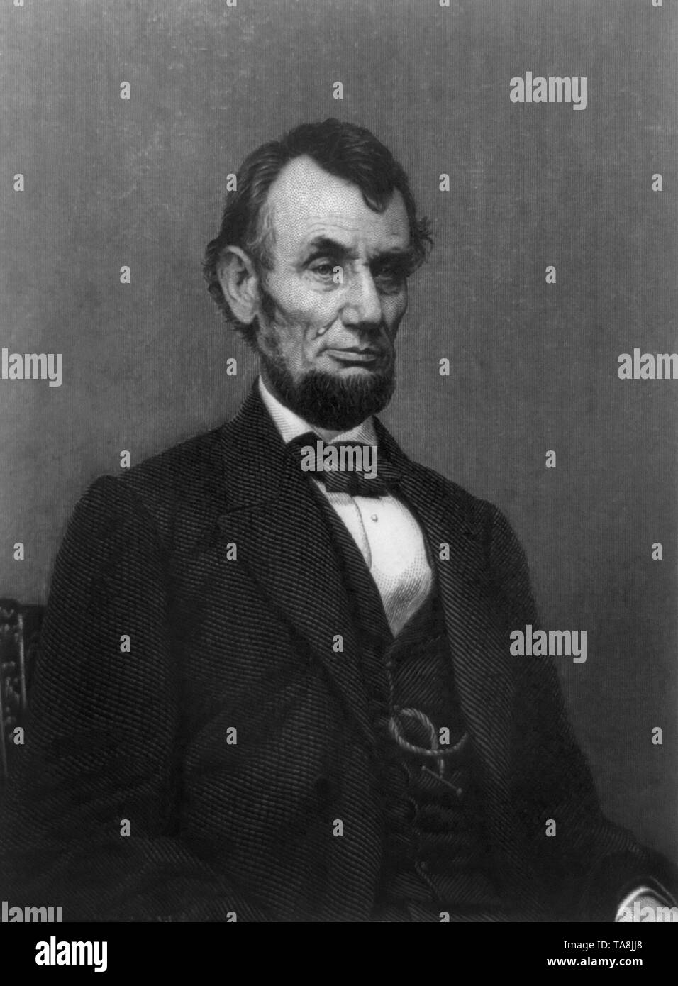 Half Length Portrait of U.S President Abraham Lincoln, Engraving by William G. Jackman from a Photograph by Mathew Brady, 1865 - Stock Image