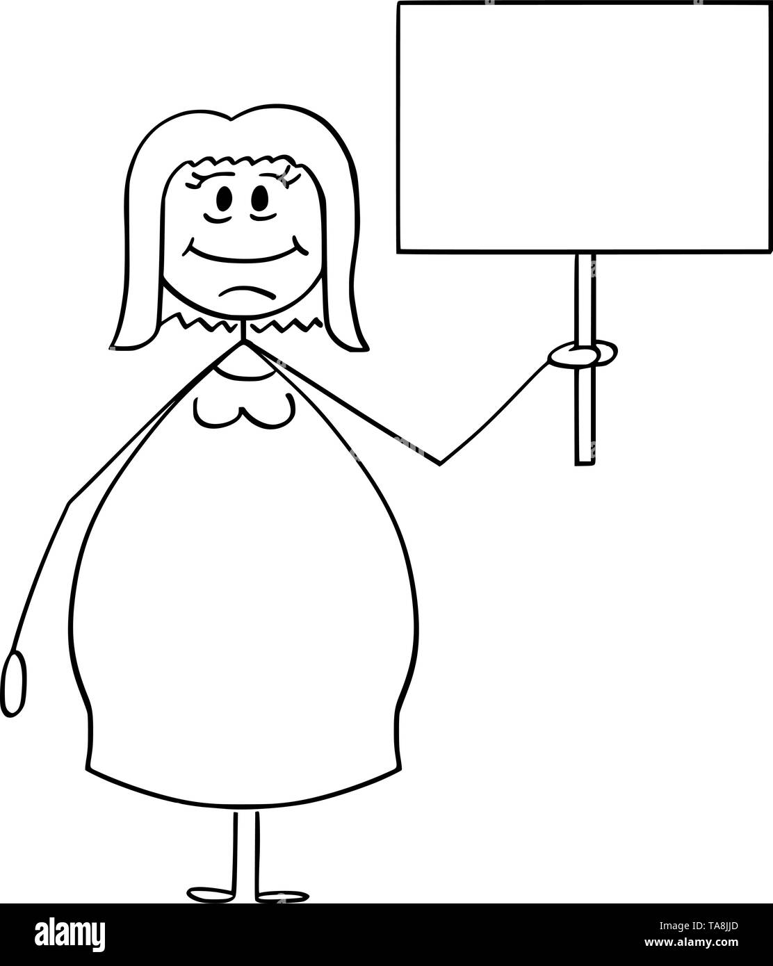 Vector cartoon stick figure drawing conceptual illustration of smiling overweight or obese woman holding empty sign ready for your text. - Stock Image