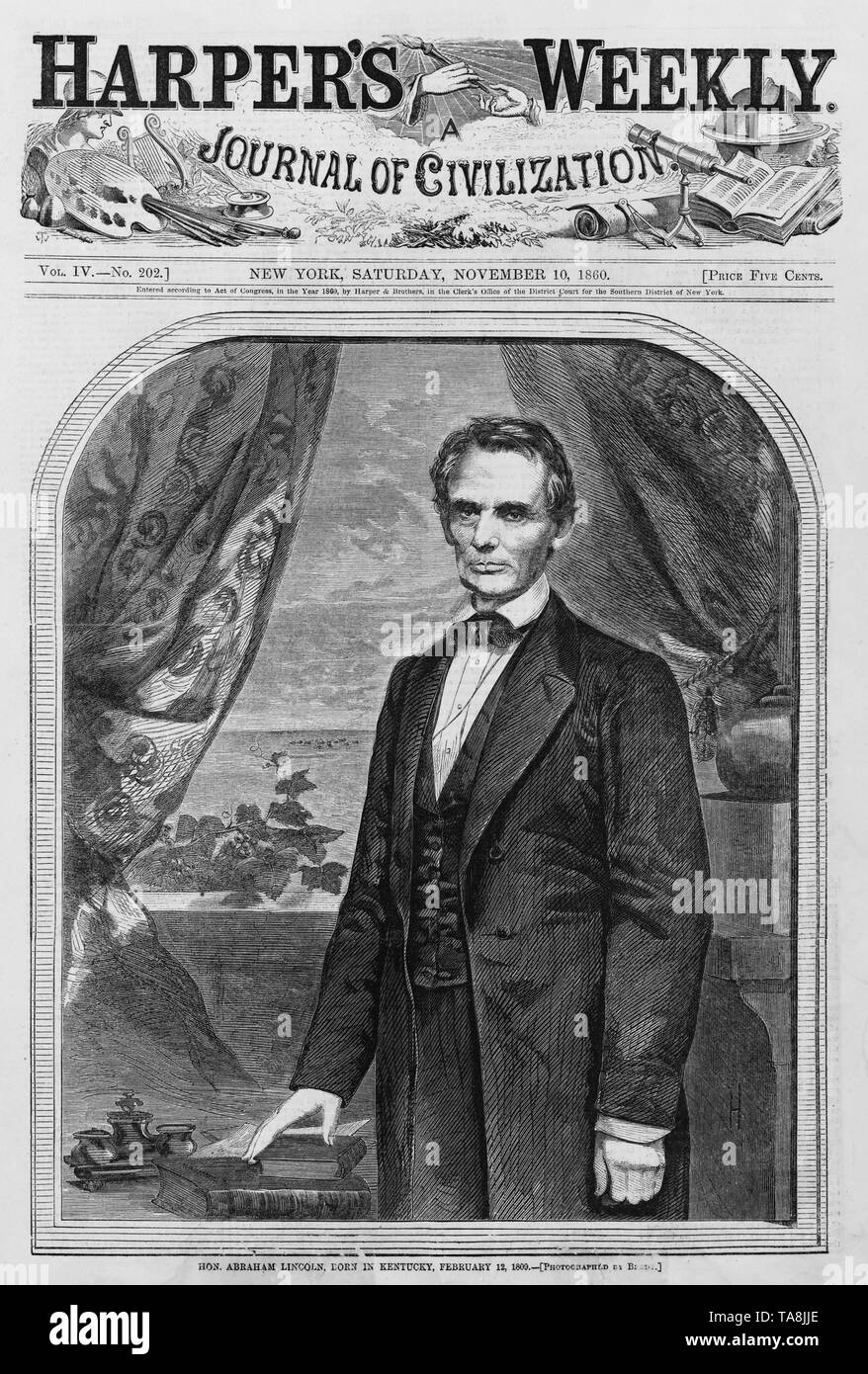 Hon. Abraham Lincoln, Born in Kentucky, February 12, 1809 (Photographed by Brady), Cover of Harper's Weekly Magazine, November 10, 1860 - Stock Image