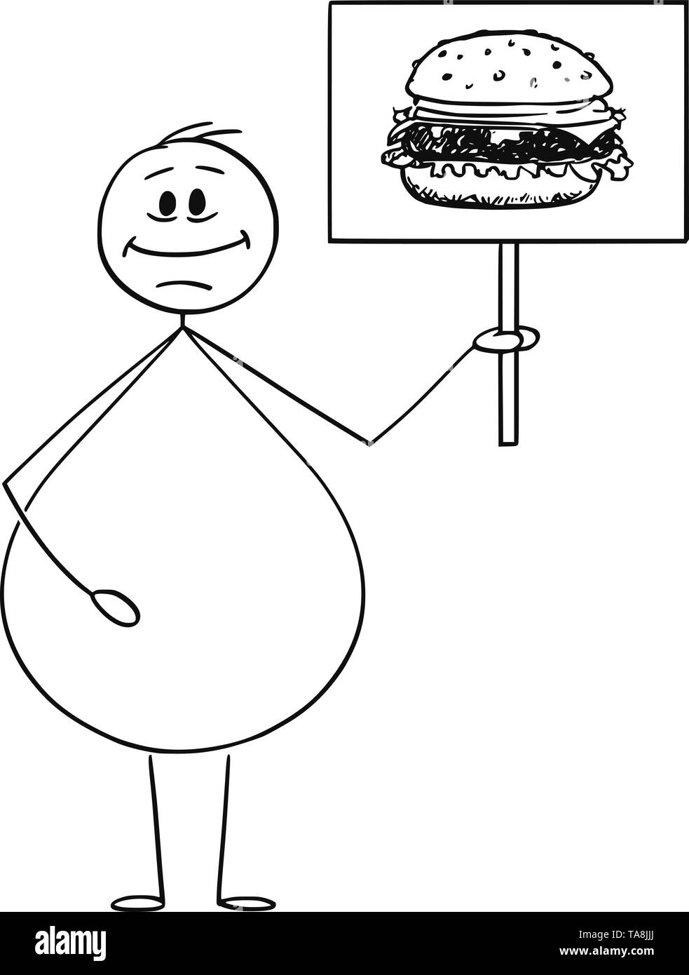 Vector cartoon stick figure drawing conceptual illustration of smiling overweight or obese man holding sign with hamburger or burger image. Junk food concept. - Stock Image