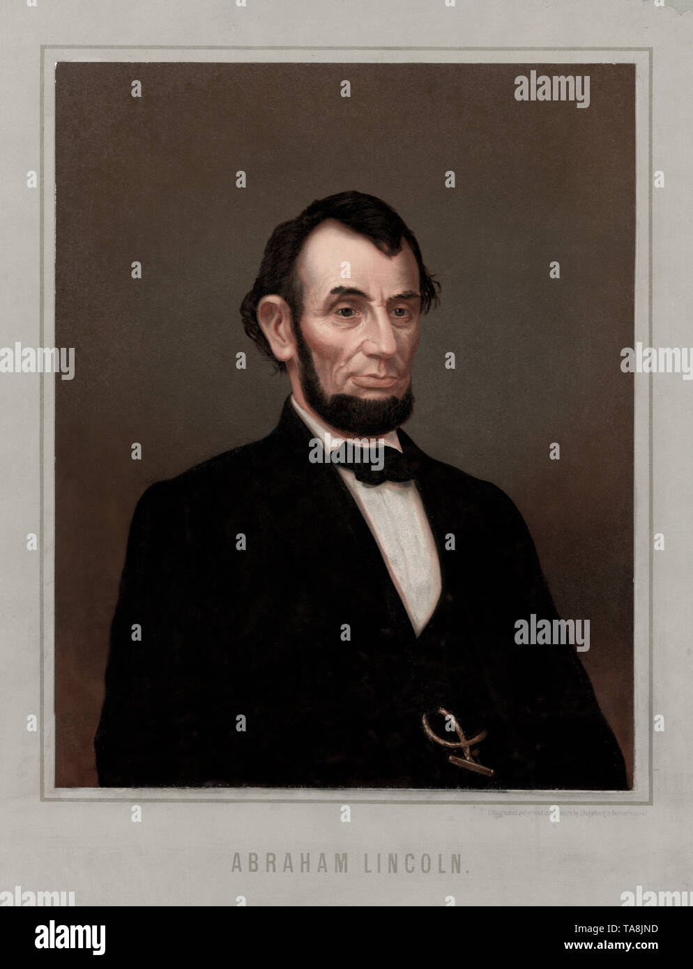 Half Length Portrait of U.S. President Abraham Lincoln, Lithograph and Printed in Oil Colors by J. Hagelberg, Berlin, 1860's - Stock Image