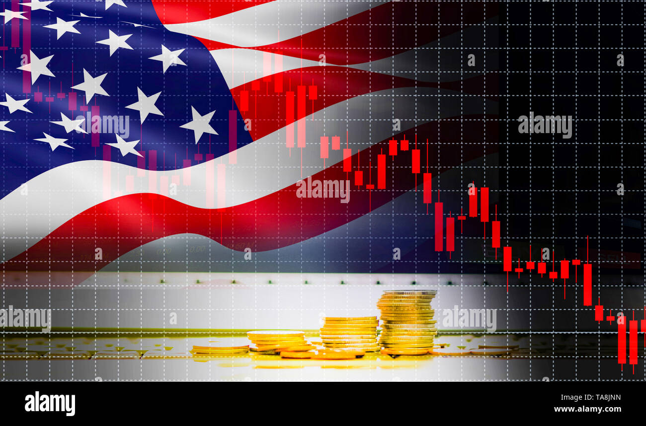 USA America flag candlestick graph background Stock market exchange analysis / indicator of changes graph chart business finance money investment with - Stock Image