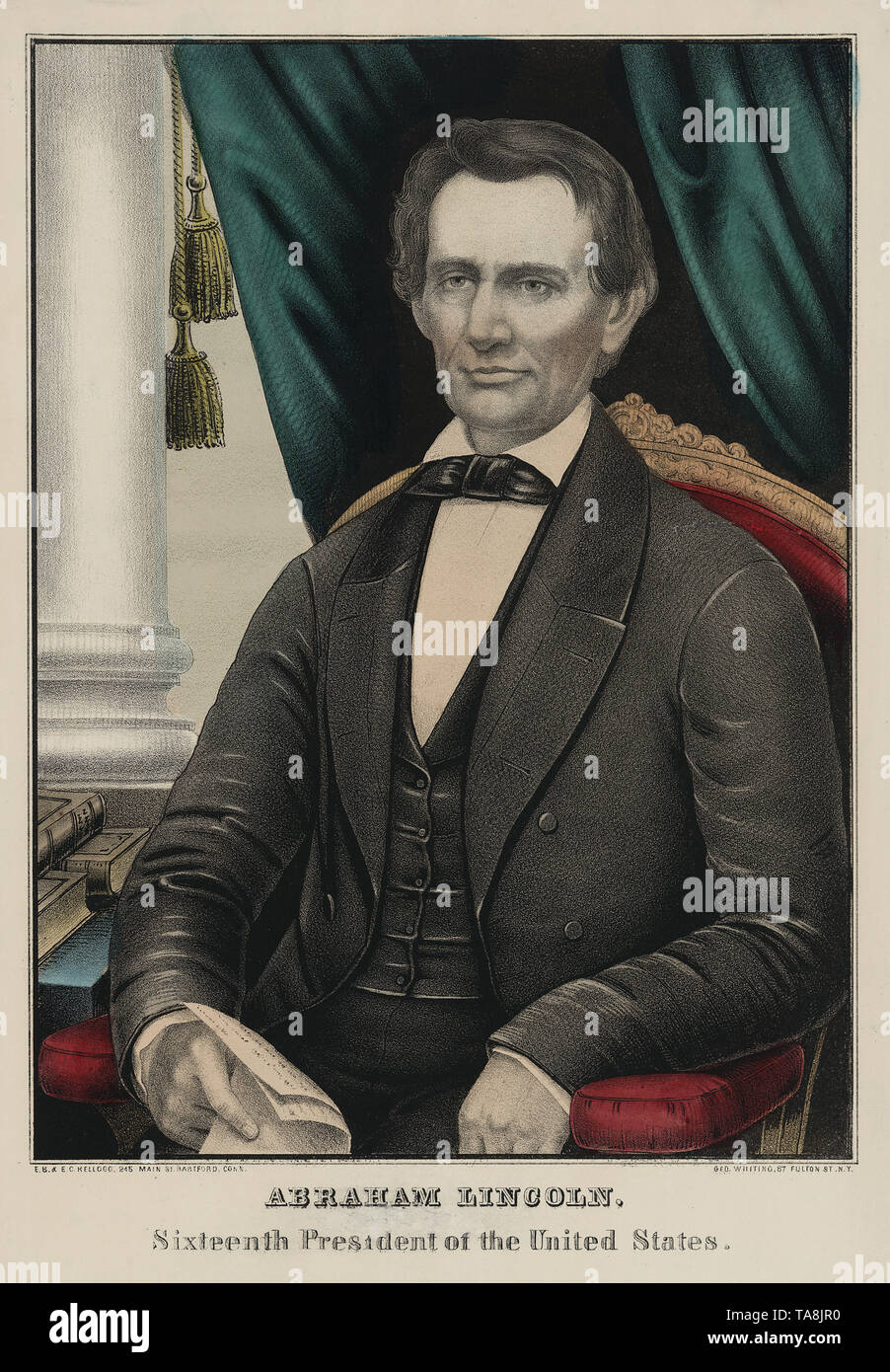 Abraham Lincoln, Sixteenth President of the United States, Lithograph by E.B. & E.C. Kellogg, Published by George Whiting, New York, 1860 - Stock Image