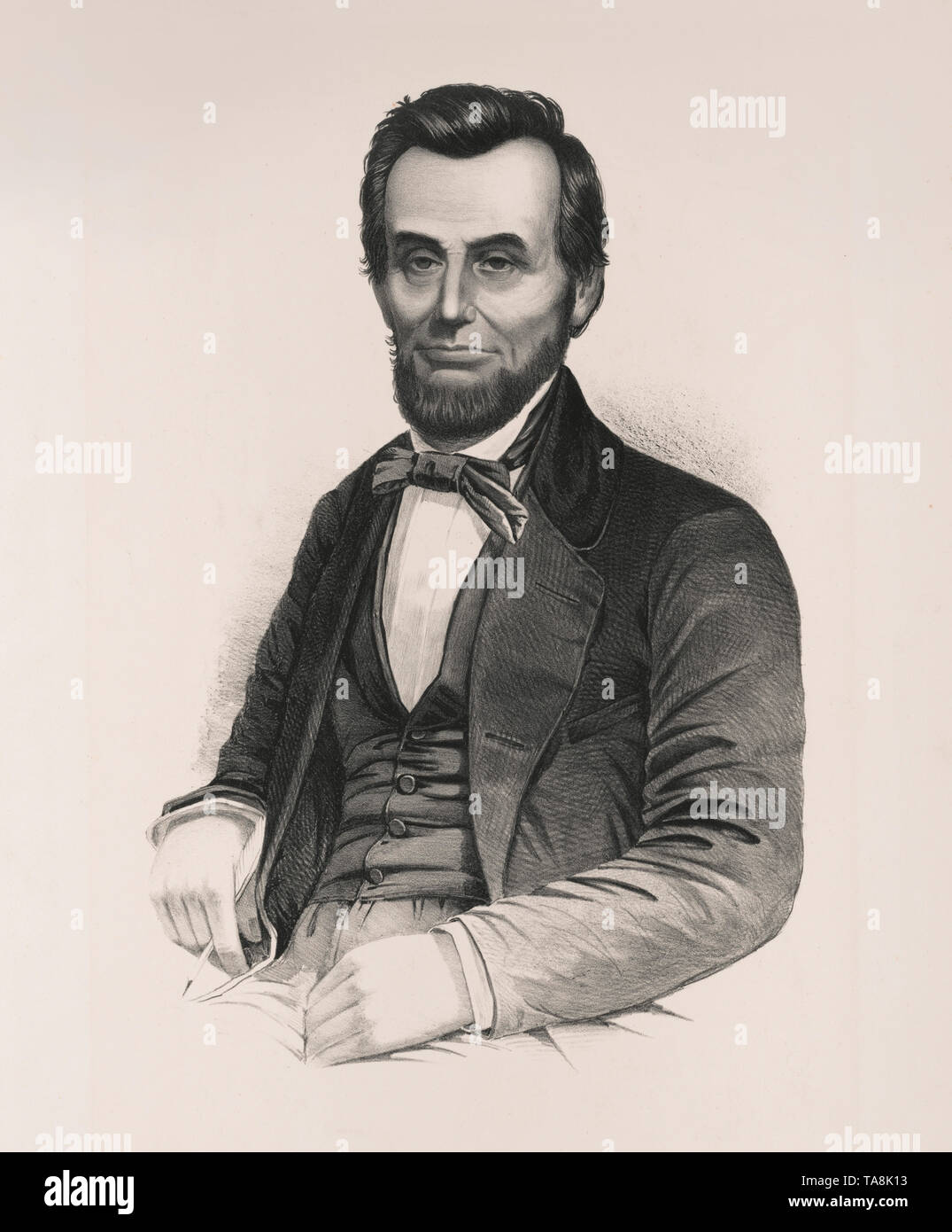 Half-Length Seated Portrait of Abraham Lincoln, Unknown Artist - Stock Image