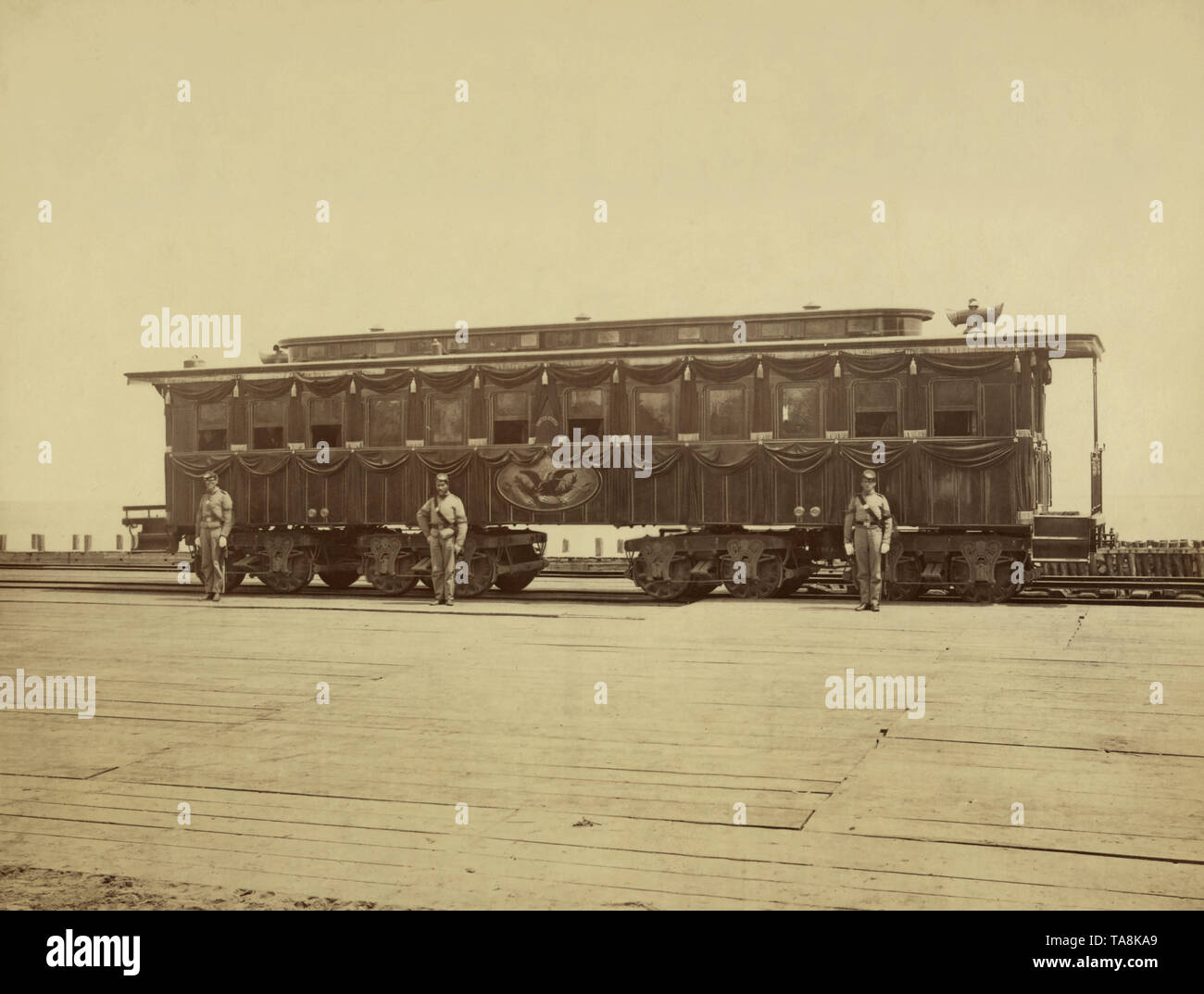 Abraham Lincoln's Railroad Funeral Car, Photograph by Samuel Montague Fassett, 1865 Stock Photo