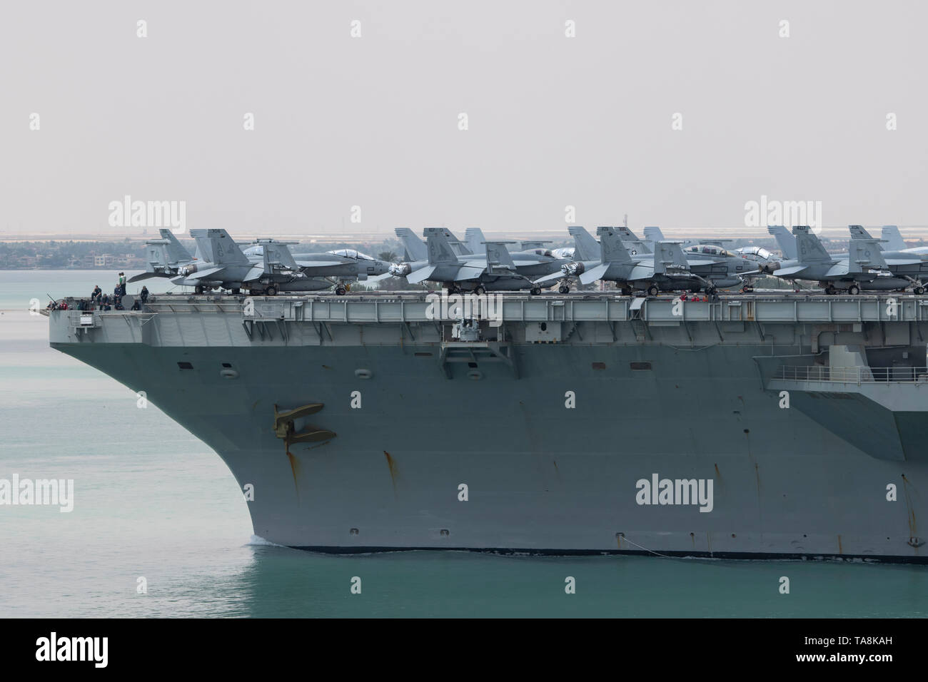 Egypt, Suez Canal. Abraham Lincoln Strike Group (ABECSG) transiting Suez Canal, May 9, 2019. Nimitz-class aircraft carrier USS Abraham Lincoln. - Stock Image