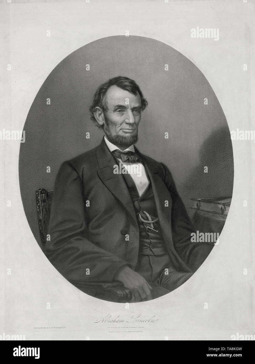 Half-Length Seated Portrait of Abraham Lincoln, Lithograph by Joseph E. Baker from a Photograph by  M.B. Brady & Co., Printed and Published by Bufford's Print Publishing House, Boston, Massachusetts, 1865 - Stock Image