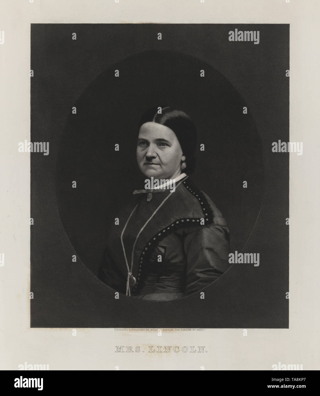 Mrs. Lincoln, Half-Length Portrait of First Lady Mary Todd Lincoln, Engraved and Published by William Sartain, early 1860's - Stock Image