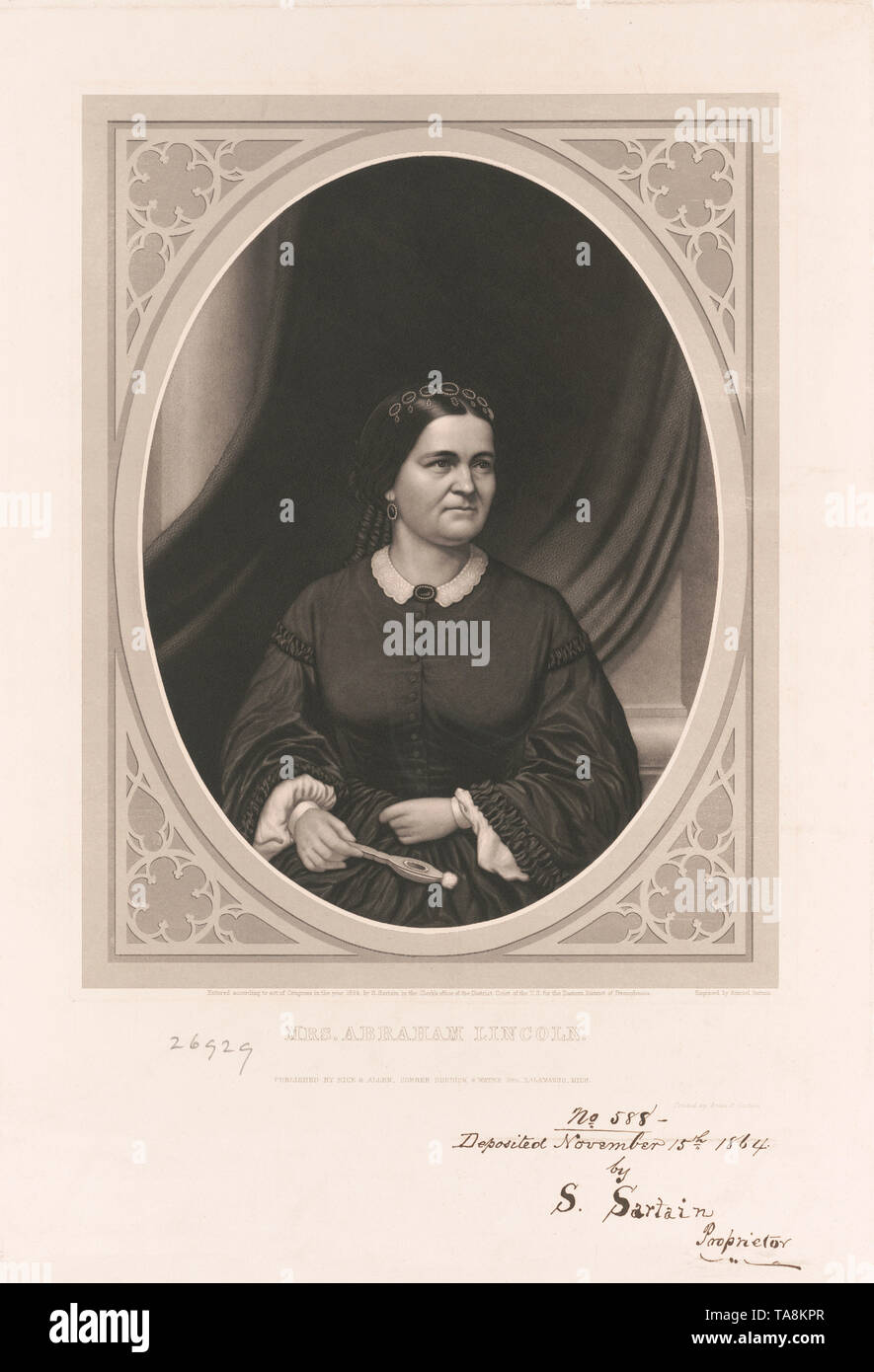 Half-Length Portrait of Mrs. Abraham Lincoln, Engraving by Samuel Sartain, Published by Rice & Allen, 1864 - Stock Image