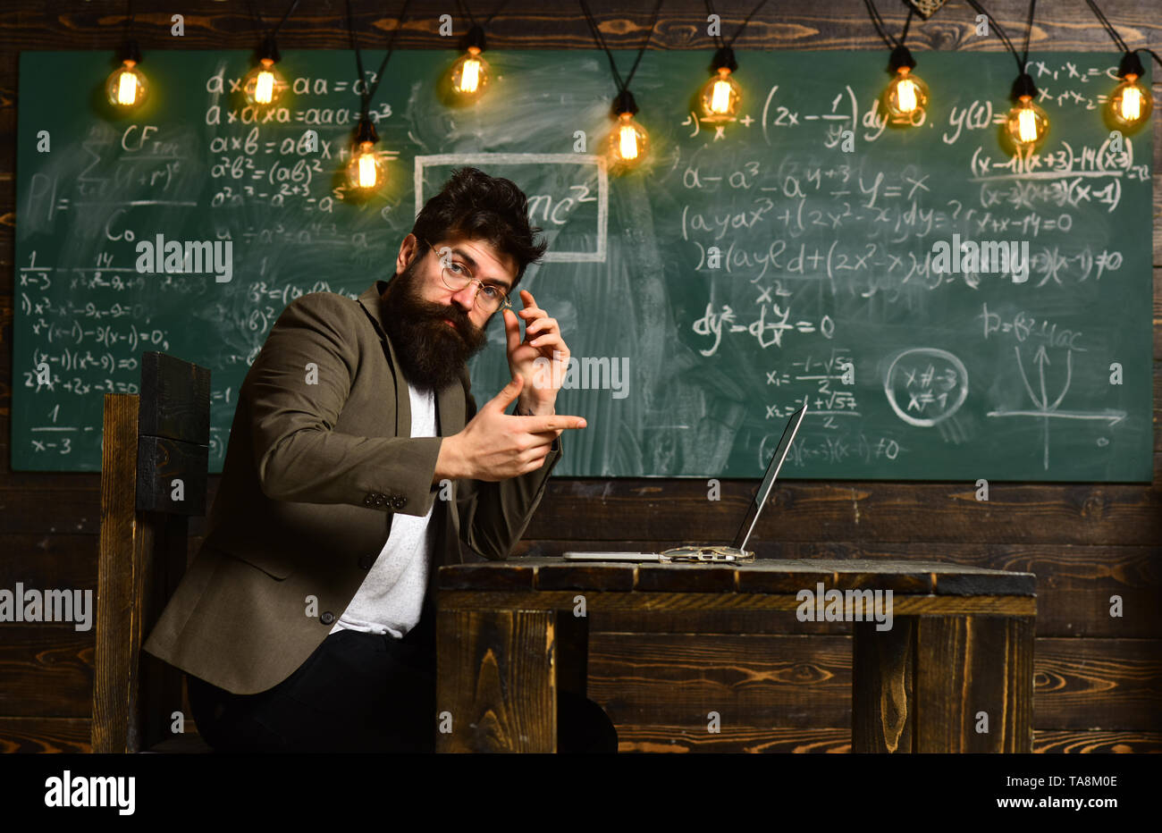 Teachers not only love their subject but love to share the joy with students, Teacher collaborates with colleagues, Teacher respects students, Profess - Stock Image