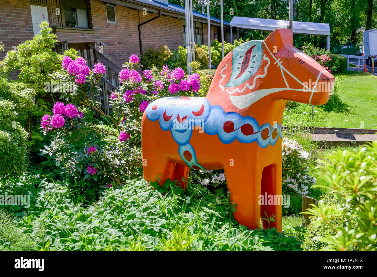 Folk art horse, Scandinavian Community Centre, Burnaby, British Columbia, Canada - Stock Image