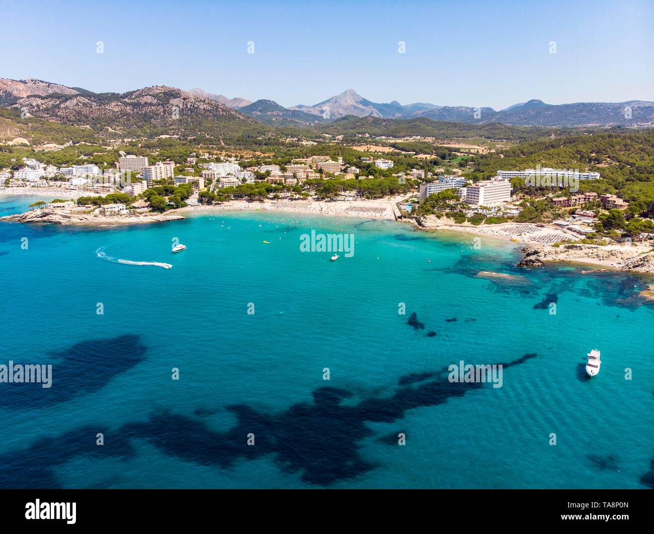Aerial view, view of tourist town Peguera with hotels and
