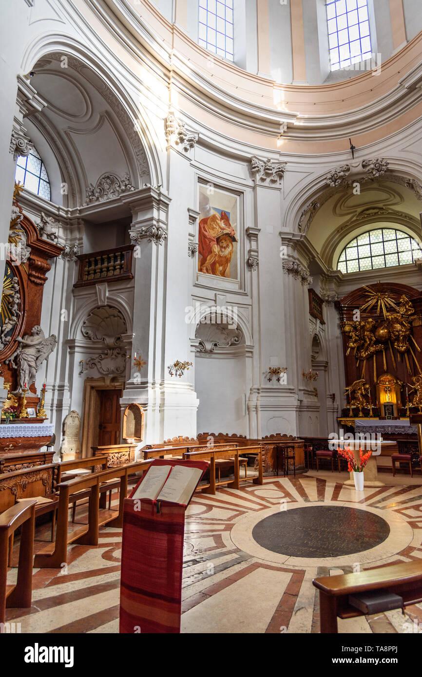 Salzburg, Austria - October 29, 2018: Interior of Holy Trinity Churchin in Salzburg - Stock Image