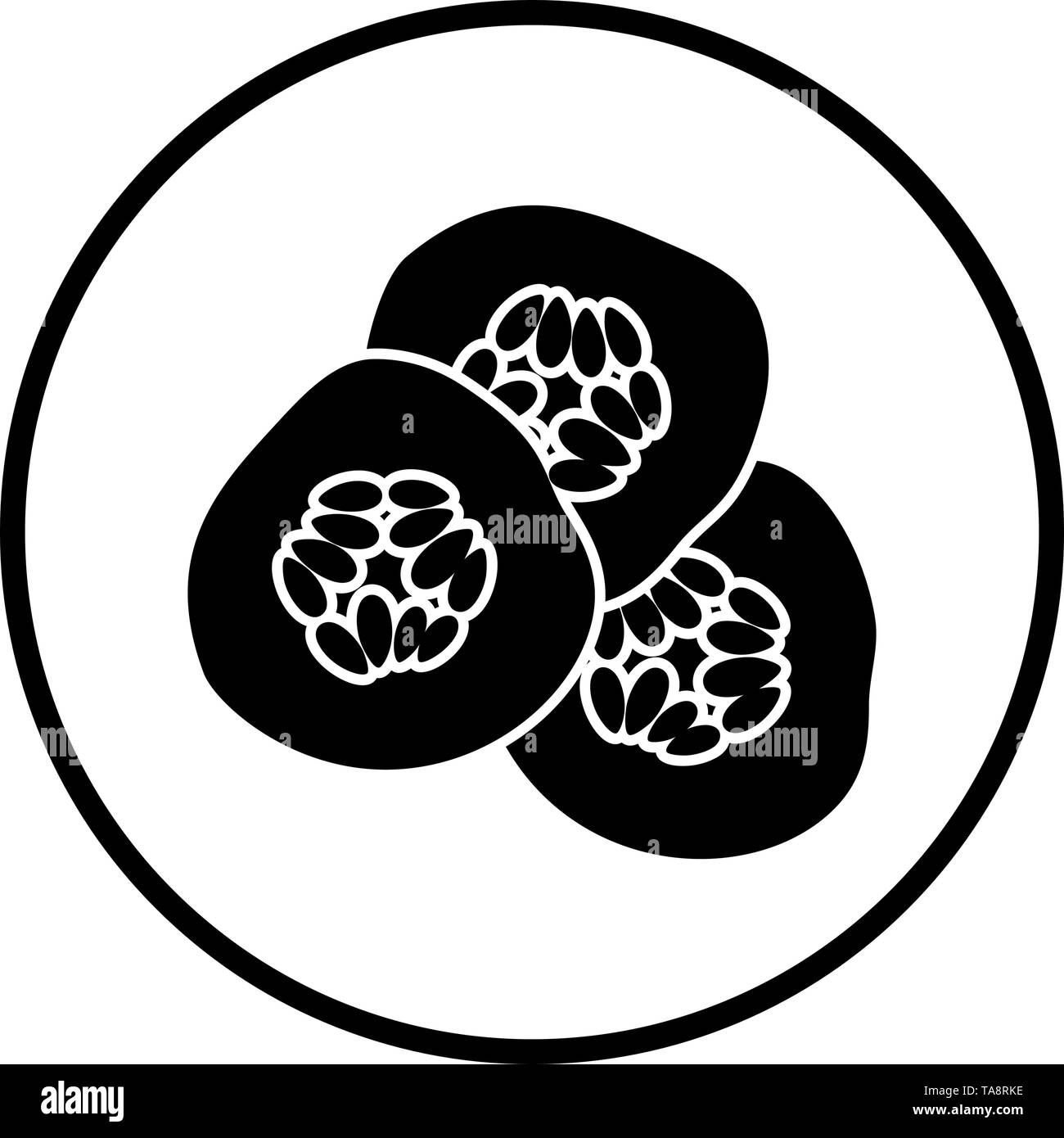 Cucumber Slices For SPA Icon. Thin Circle Stencil Design. Vector Illustration. - Stock Image