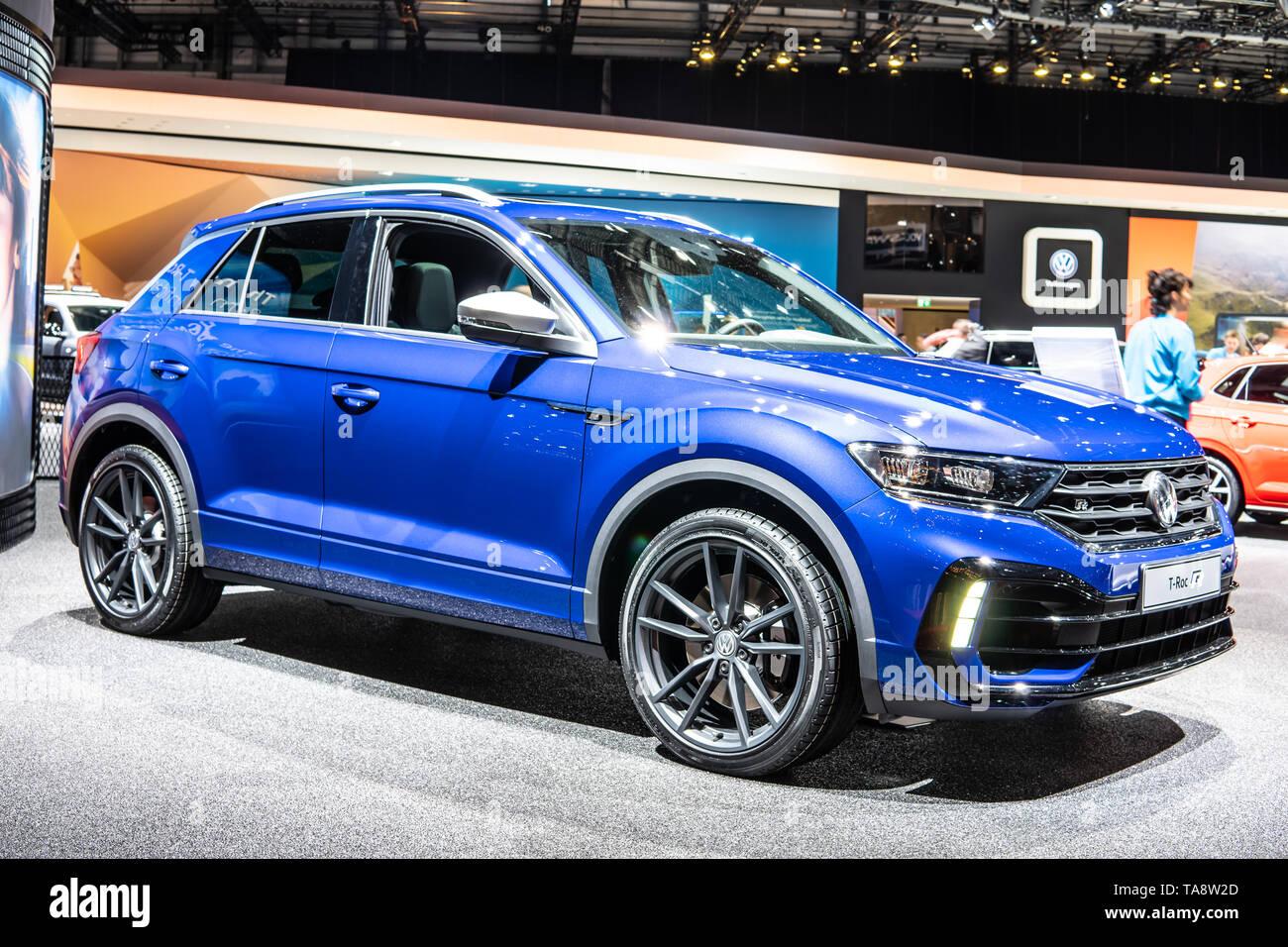 Geneva, Switzerland, March 05, 2019: metallic blue high-performance Volkswagen VW T-Roc R at Geneva International Motor Show, produced by Volkswagen - Stock Image