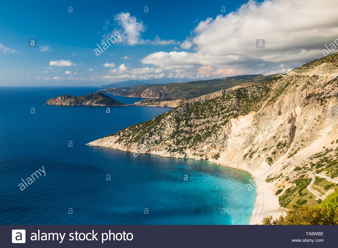 Myrtos Beach in Kefalonia, Ionian Islands, Greece - Stock Image
