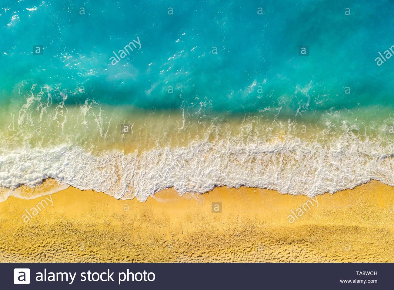 Beautiful beach in Kefalonia, Ionian Islands, Greece. Aerial view. - Stock Image