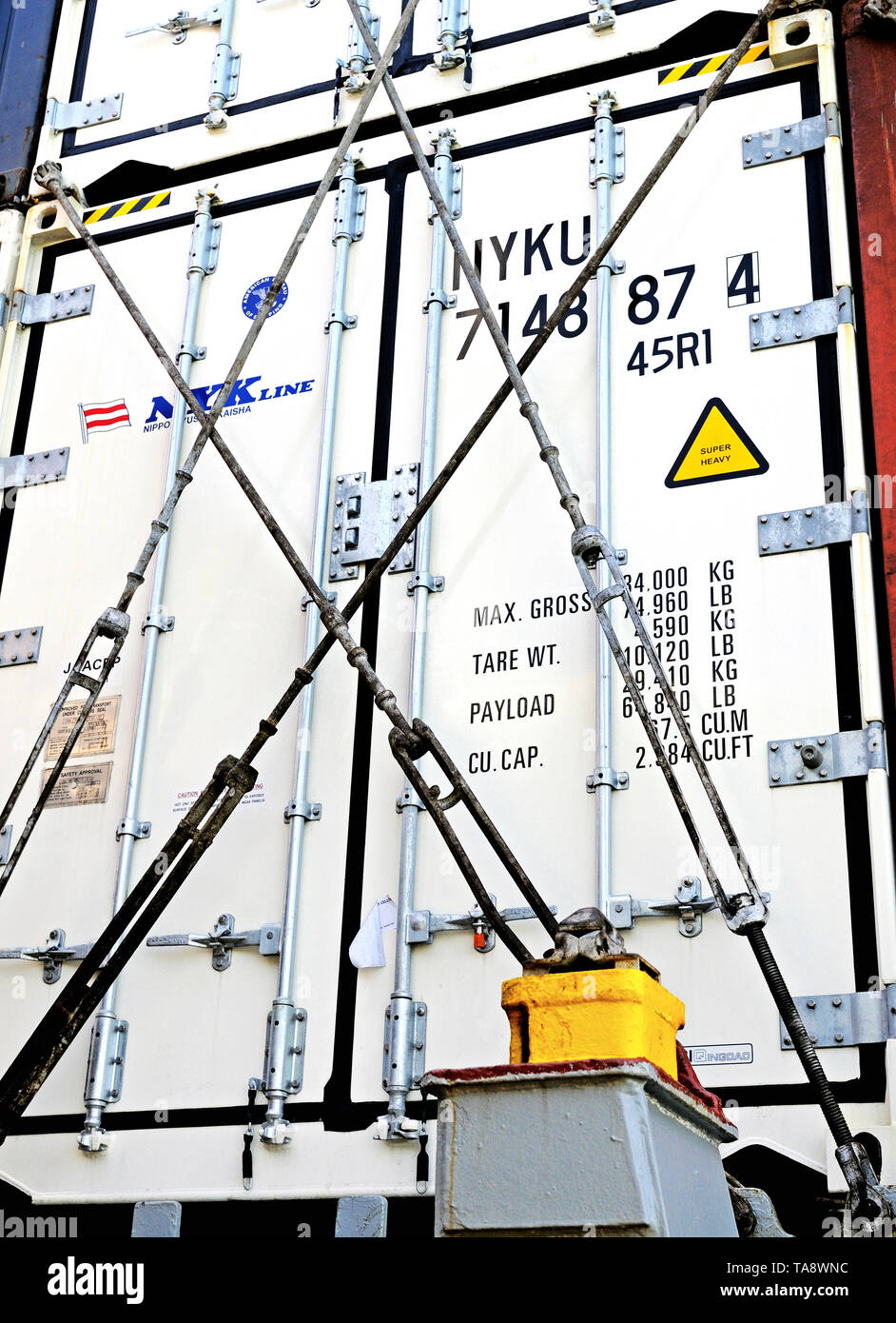 south china sea - 2008.08.31: refrigerated containers stowed on deck of containership asta rickmers (imo 9212046) - Stock Image