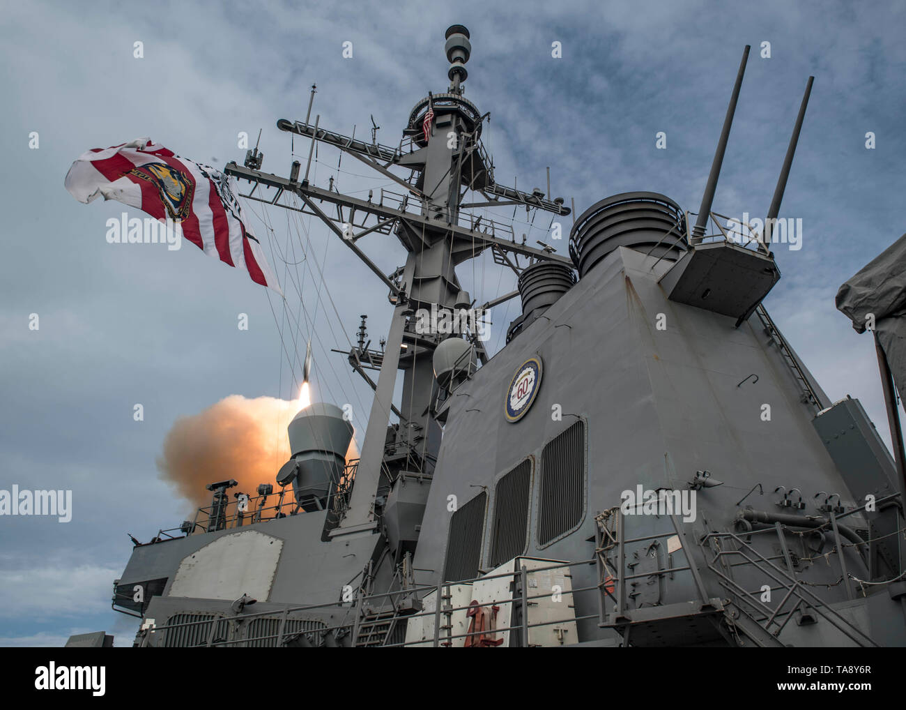 190517-N-TI693-0076    ATLANTIC OCEAN (May 17, 2019) - The Arleigh Burke-class guided-missile destroyer USS Carney (DDG 64) fires an SM-2 missile during a live-fire exercise as part of exercise Formidable Shield 19, May 17, 2019. Formidable Shield is designed to improve allied interoperability in a live-fire integrated air and missile defense environment, using NATO command and control reporting structures. (U.S. Navy photo by Mass Communication Specialist 1st Class Fred Gray IV/Released) - Stock Image