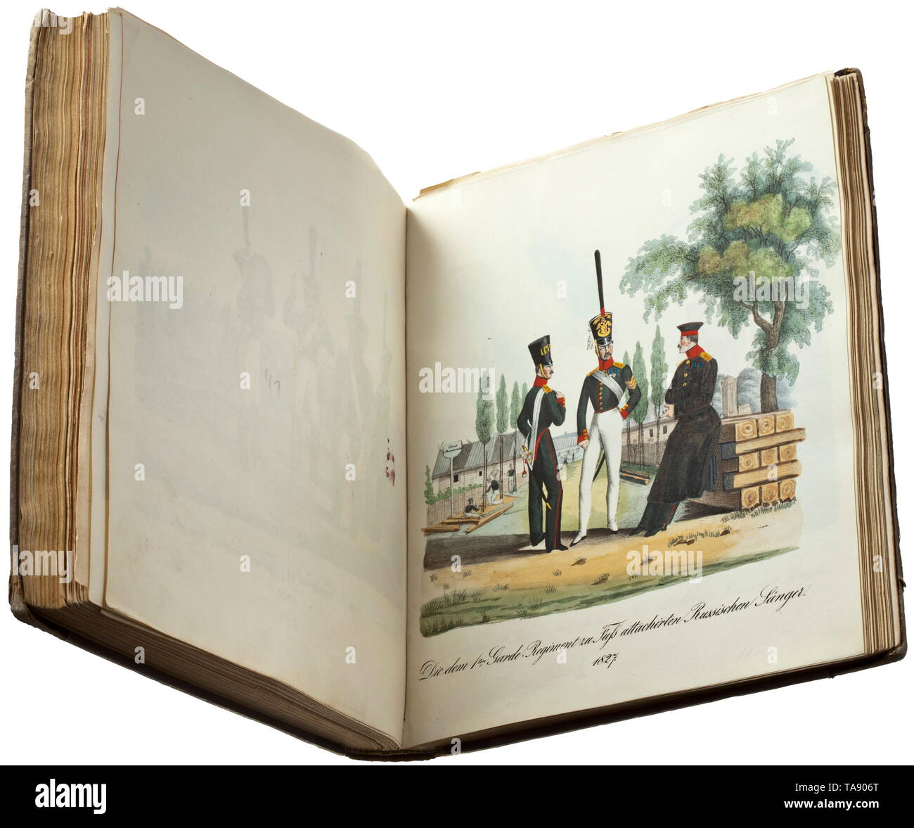 Die Uniformen der preußischen Garden - (tr. The uniforms of the Prussian Guards), published by Gropius Berlin, 1840 Illustrated volume entitled 'Die Uniformen der Garden - 1704 bis 1836' etc, significant reference work on the uniforms of the Prussian army, edited by Generalleutnant Wilhelm von Thümen. Published in Berlin from 1837 by George Gropius, in several consignments. Half-linen and leather binding, gold lettering. Dimensions 22.5 x 26 x 3.5 cm. Not checked for completeness, several pages loose. Completed in 1840, the work comprises circa 1, Additional-Rights-Clearance-Info-Not-Available - Stock Image