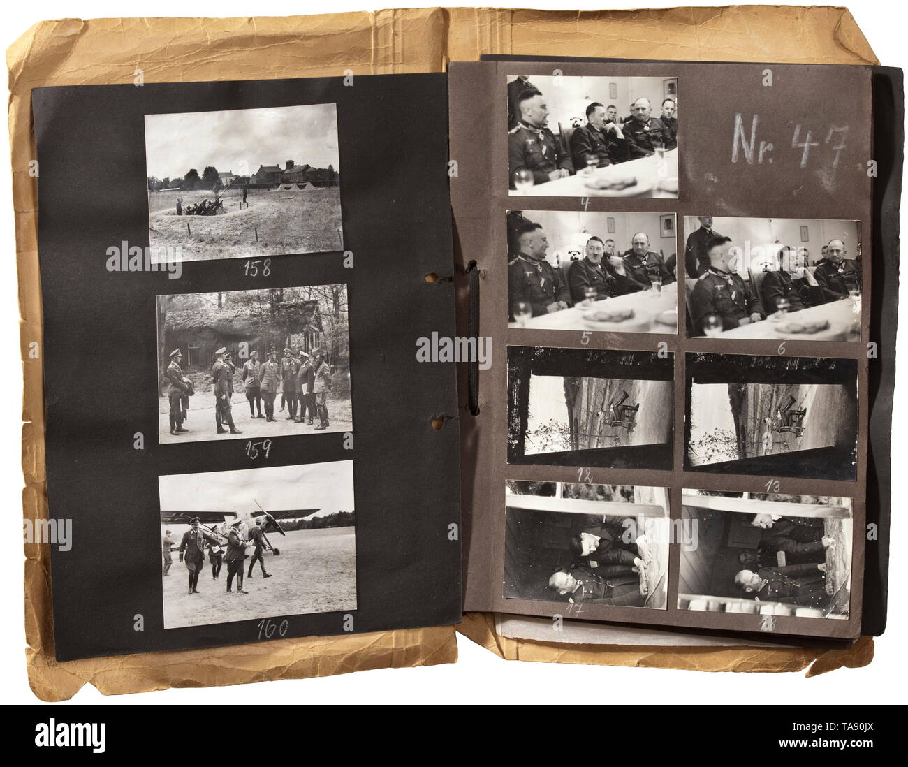 Adolf Hitler - three photo albums with images of the Führer headquarters 'Wolfsschlucht' (Wolf's Gorge) in Bruly-de-Pesche 199 images by Heinrich Hoffmann in various sizes, to our knowledge predominately unknown and unpublished material, encompassing the time period from Hitler's arrival in the afternoon of 6 June 1940 from Regniowez - Le Gros Caillou up to his departure on 25 June 1940. On 19 June, he had already ordered the relocation of FHQu to 'Tannenberg'. From 25 May through 6 June, 600 members of the Organisation Todt laboured on the projec 20th century, Editorial-Use-Only - Stock Image