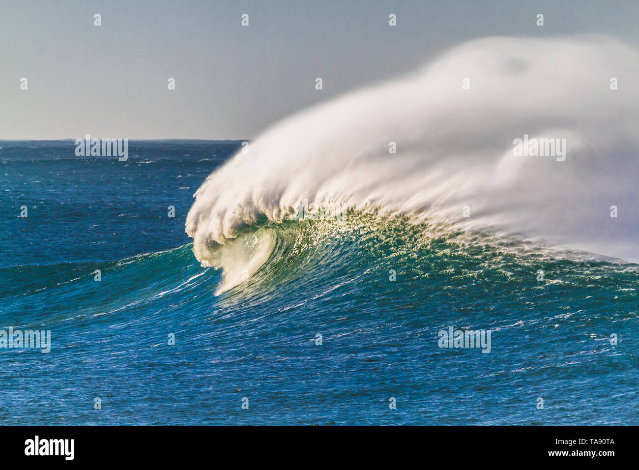 Large windblown wave breaking out to sea - Stock Image
