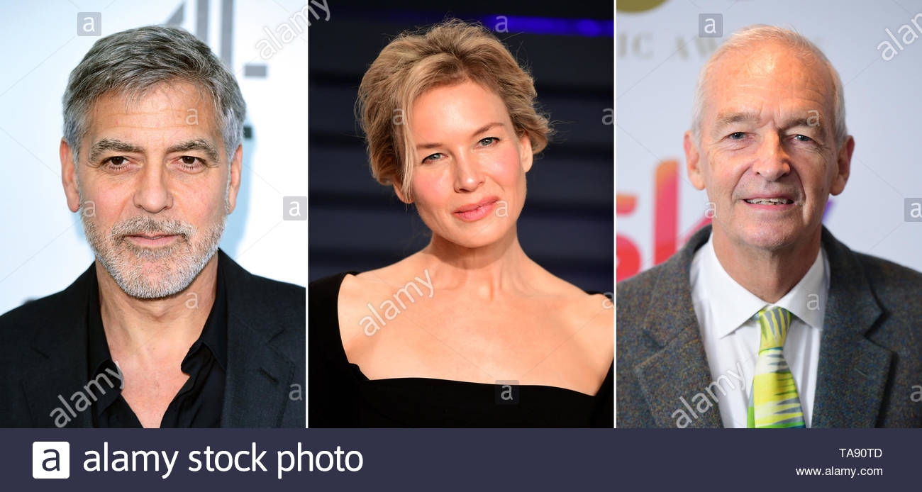 Undated file photos of (left to right) George Clooney, Renee Zellweger and Jon Snow. - Stock Image