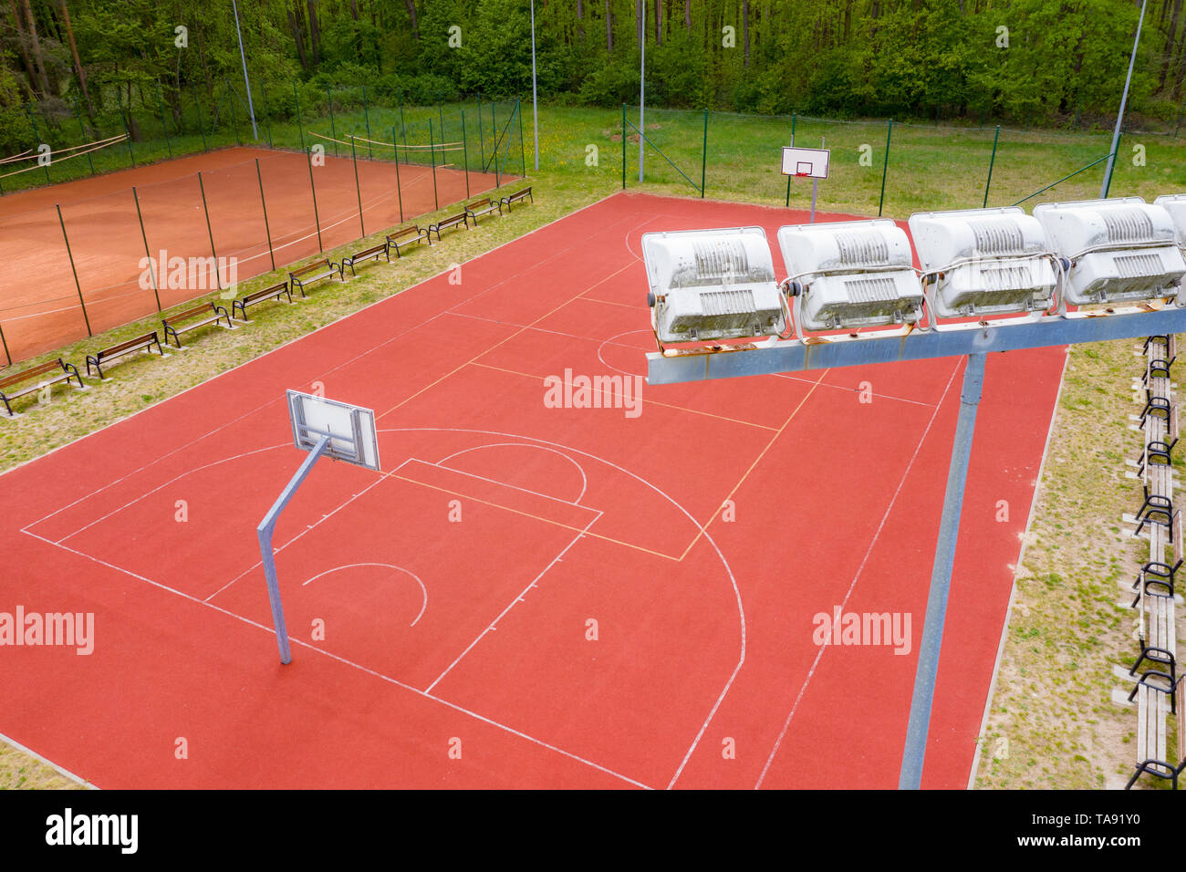 Basketball Court Top View Of Court And Baseline Template For