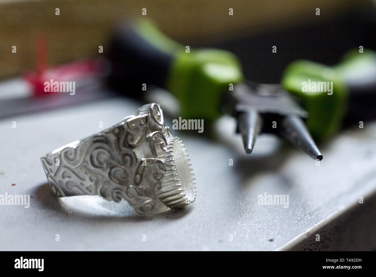 The plan for the blank ring for the silver braided ring, the gradual production of silver products - Stock Image