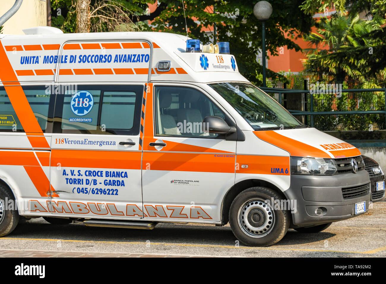 GARDA, LAKE GARDA, ITALY - SEPTEMBER 2018: Emergency ambulance parked on a street in Garda on Lake Garda Stock Photo