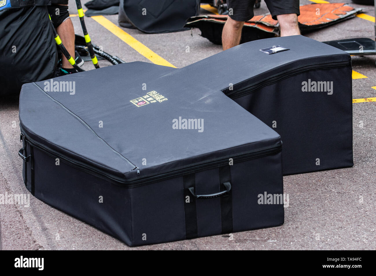 Monte Carlo/Monaco - 22/05/2019 - Mercedes F1 Team front wing ready to be unpacked in the pitlane ahead of the 2019 Monaco Grand Prix - Stock Image
