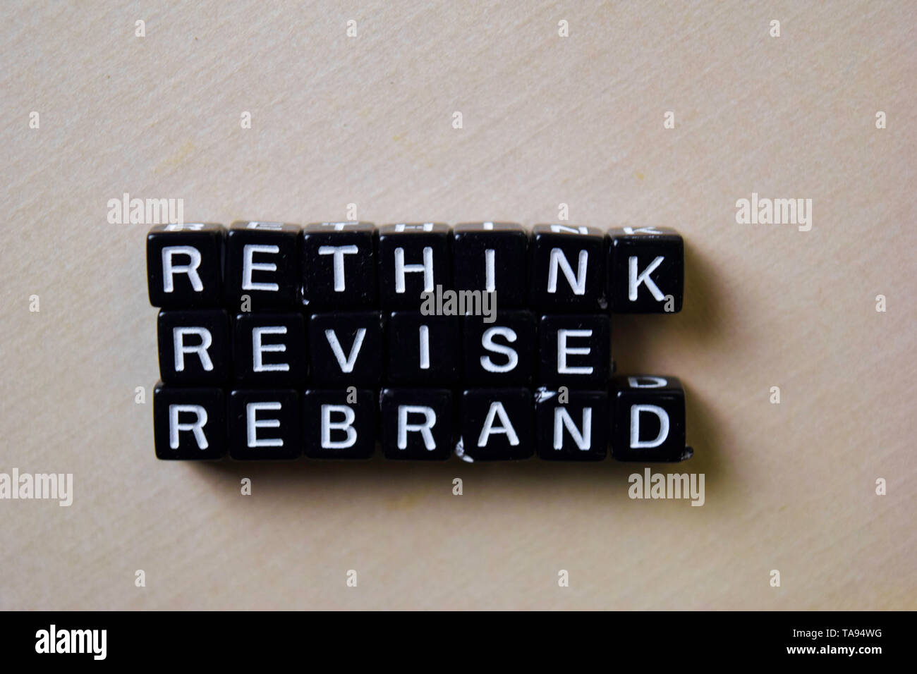 Reflect - Rethink - Rebrand on wooden blocks. Business and inspiration concept - Stock Image