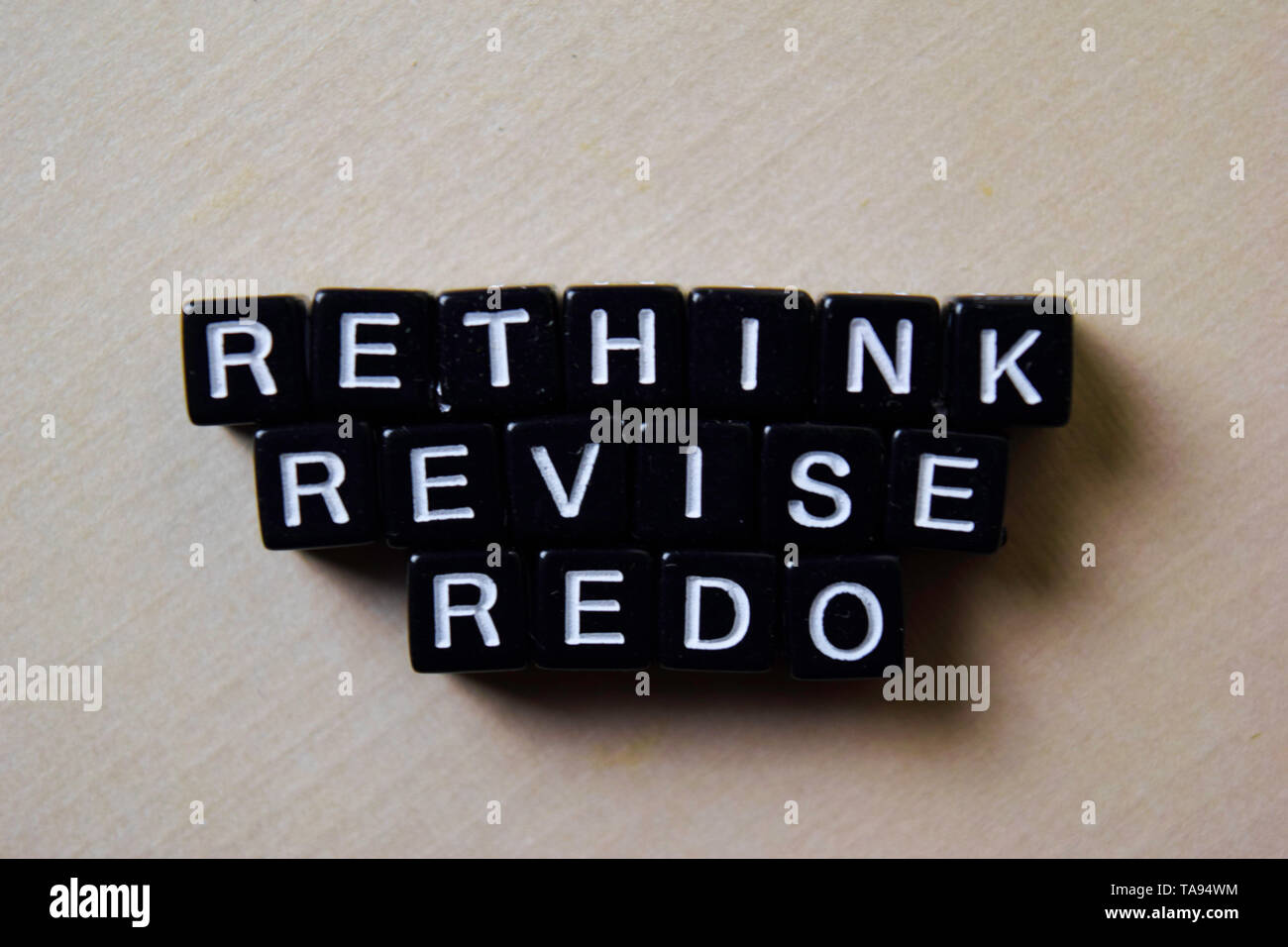 Reflect - Rethink - Redo on wooden blocks. Business and inspiration concept - Stock Image