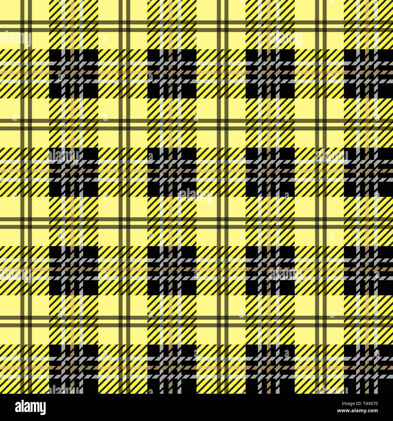 f04c9b0eff Tartan plaid. Scottish pattern in black, white and yellow cage. Scottish  cage. Traditional Scottish checkered background. Seamless fabric texture.  Vec