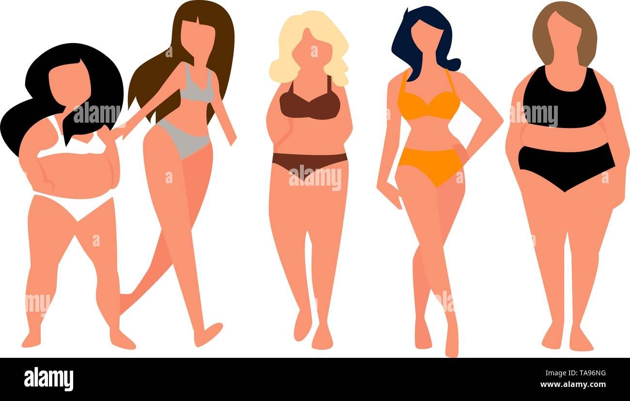 Fat woman with sea clothes . vector. - Stock Vector