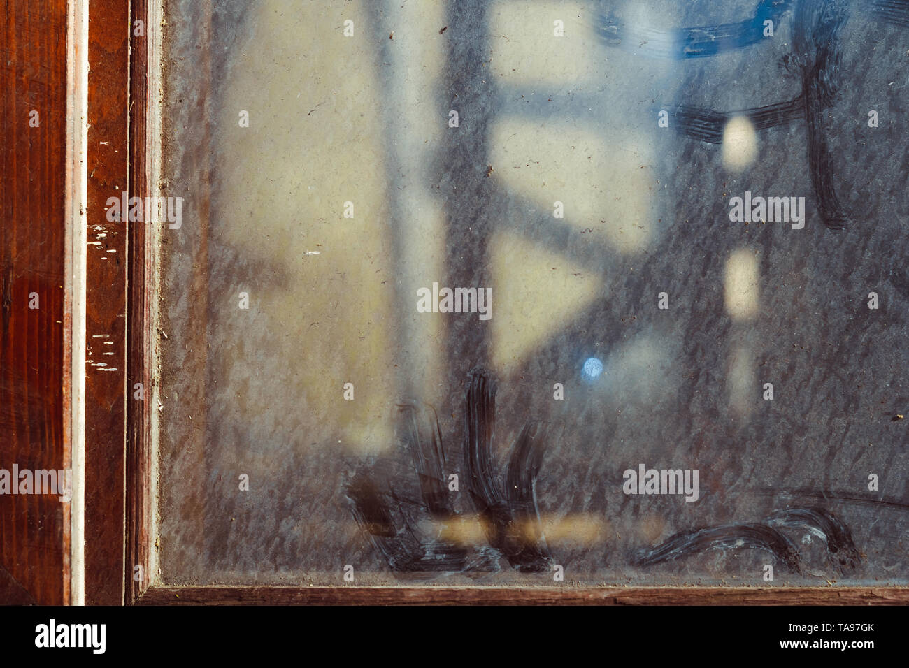 Dusty dirty glass composition as a background texture - Stock Image