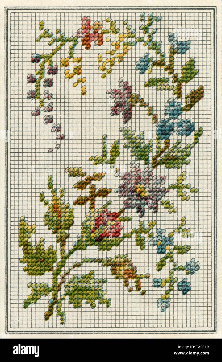 Embroidered design flower twig ,  (needlework book - Stock Image