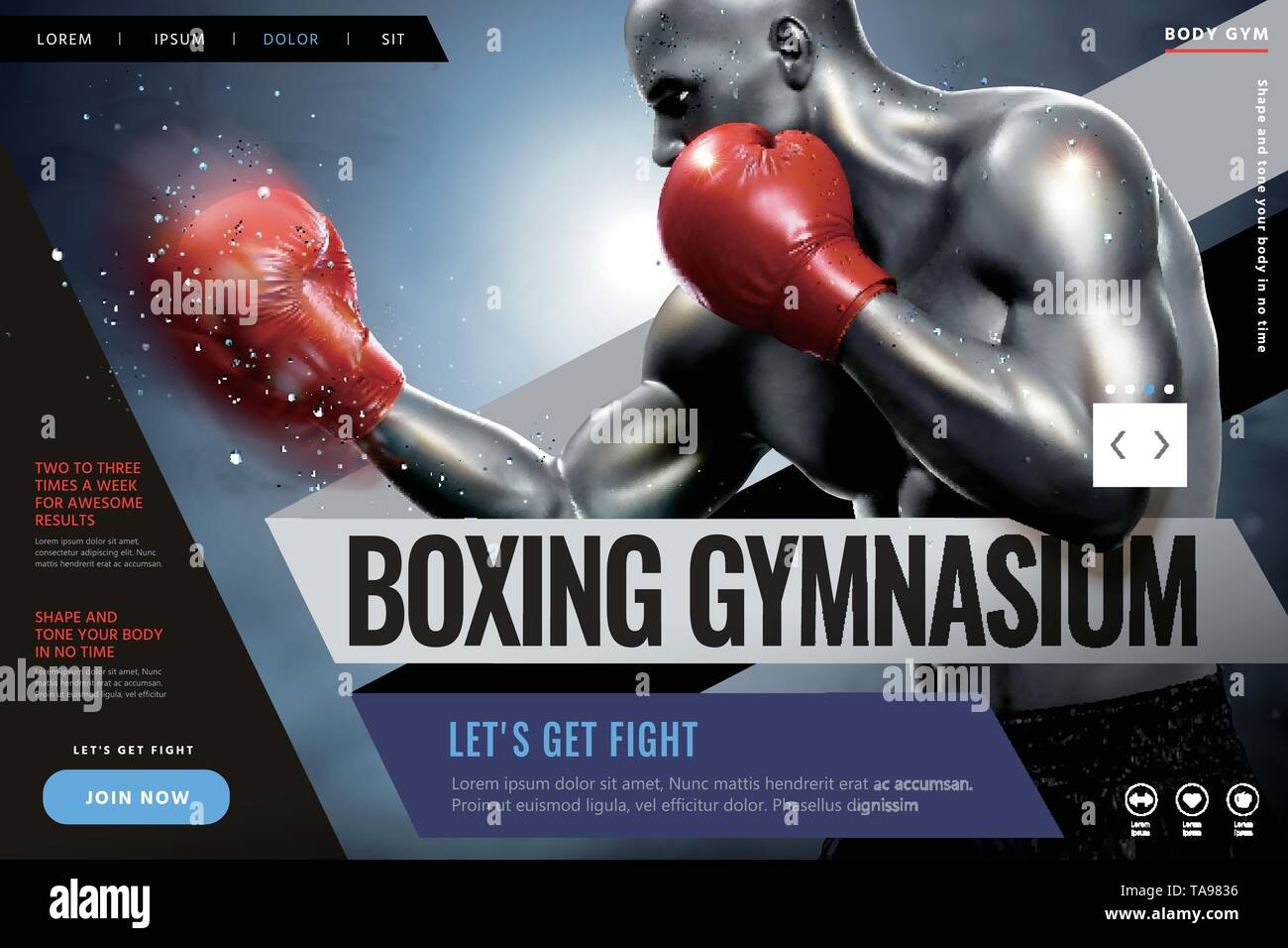 Fitness and boxing website design with strong boxer in 3d illustration - Stock Image