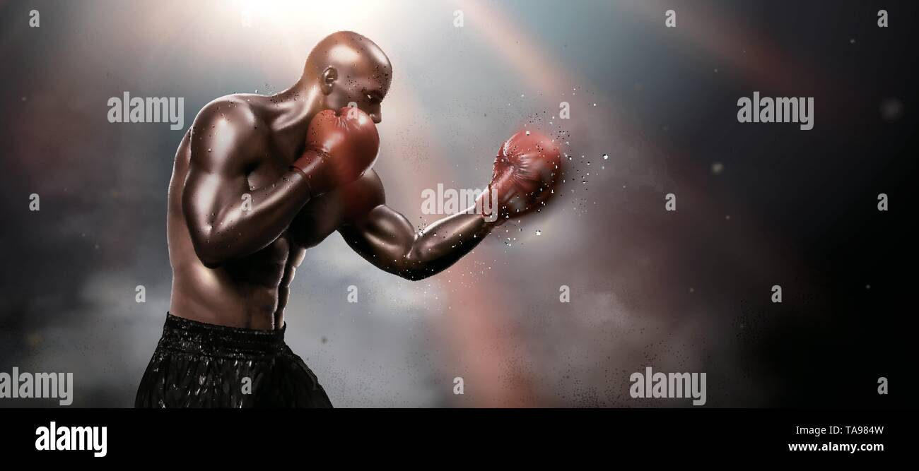 Strong boxer throwing a hook in 3d illustration, bokeh background - Stock Image