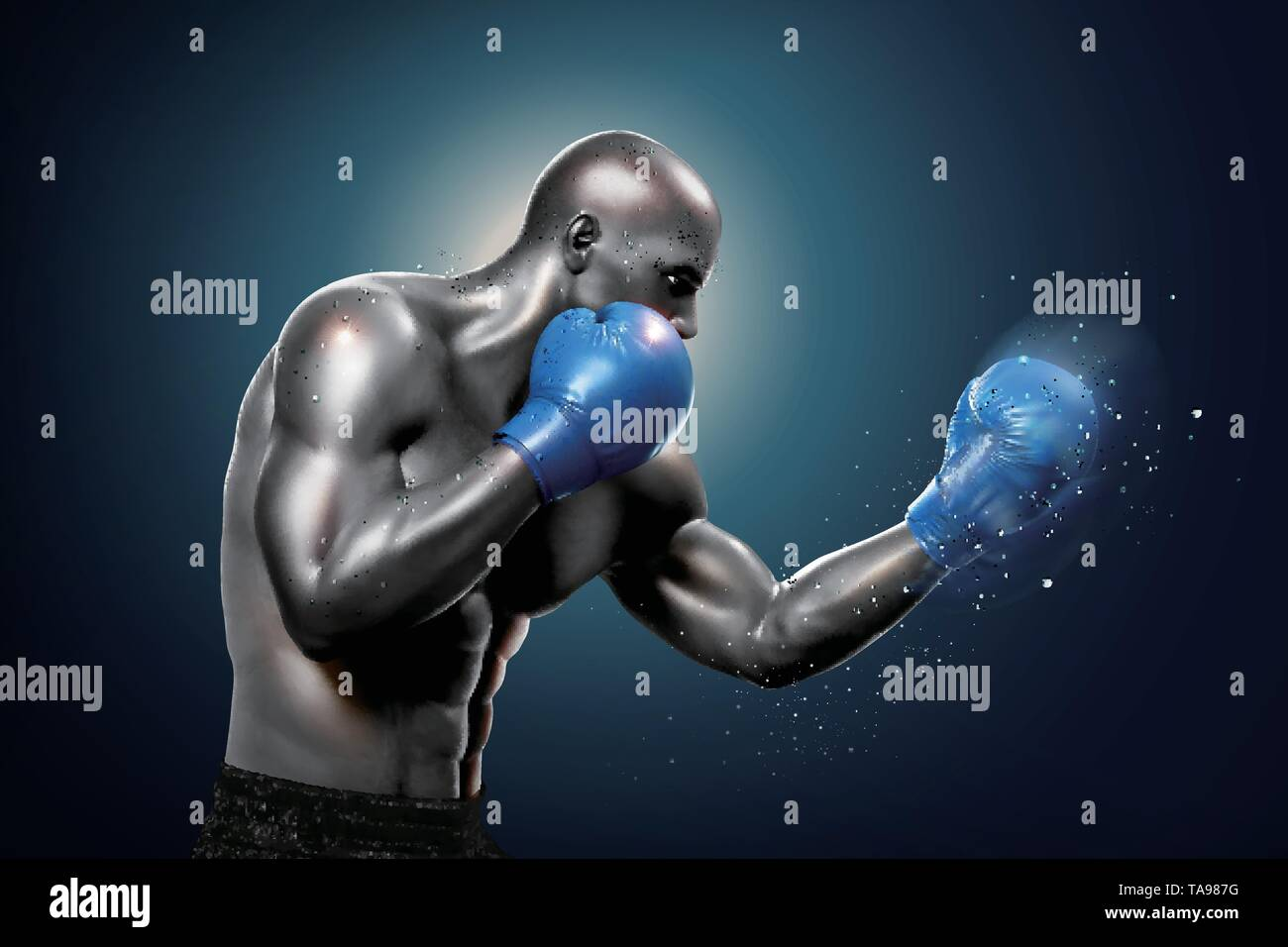 Strong boxer throwing a hook in 3d illustration - Stock Image