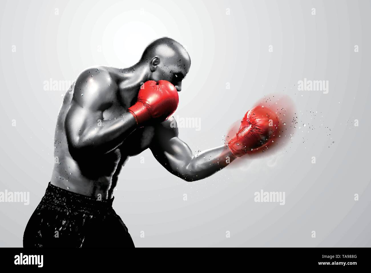 Strong boxer throwing a hook in 3d illustration, grey tone - Stock Image